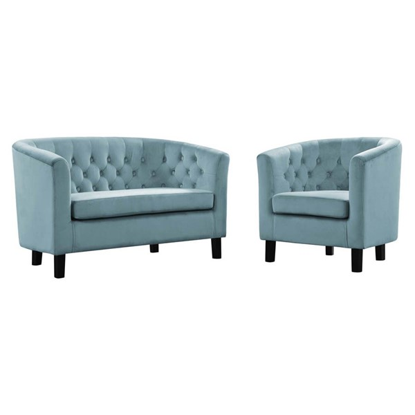 Modway Furniture Prospect Sea Blue Velvet Loveseat and Armchair Set EEI-3154-SEA-SET