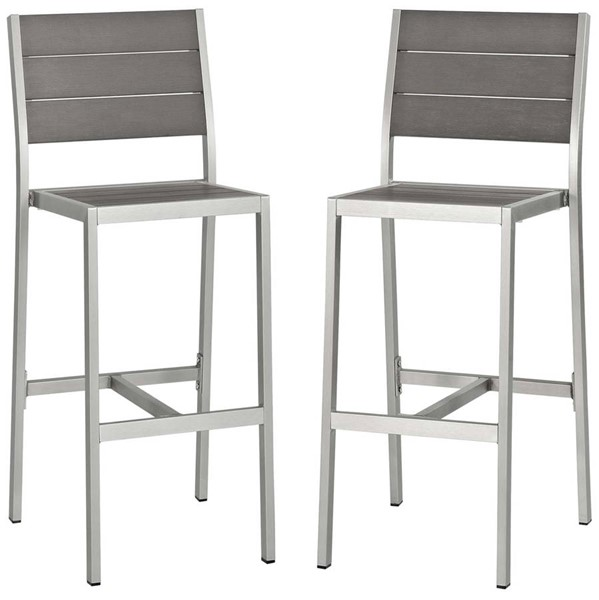 2 Modway Furniture Shore Silver Gray Outdoor Patio Armless Bar Stools EEI-3156-SLV-GRY-SET