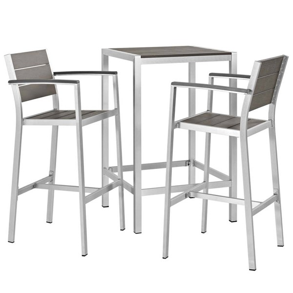 Modway Furniture Shore Silver Gray 3pc Outdoor Patio Pub Set EEI-3157-SLV-GRY-SET