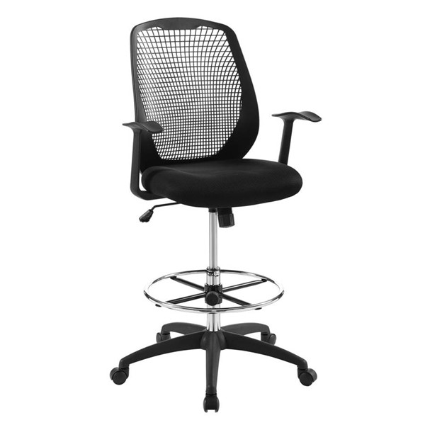 Modway Furniture Intrepid Black Mesh Drafting Chair EEI-3194-BLK