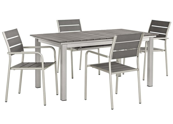 Modway Furniture Shore Silver Gray 5pc Outdoor Patio Dining Set EEI-3197-SLV-GRY-SET