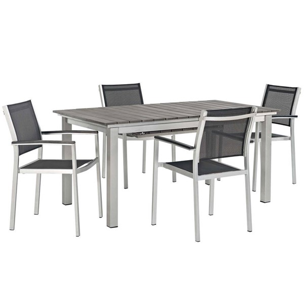 Modway Furniture Shore Silver Black 5pc Outdoor Patio Dining Set EEI-3198-SLV-BLK-SET