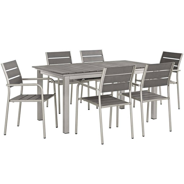 Modway Furniture Shore Gray 7pc Outdoor Patio Dining Set EEI-3199-SLV-GRY-SET