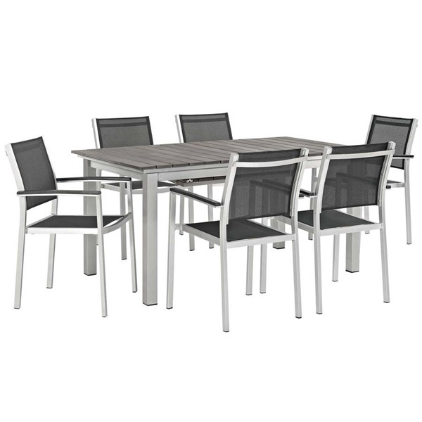 Modway Furniture Shore Black 7pc Outdoor Patio Dining Set EEI-3200-SLV-BLK-SET
