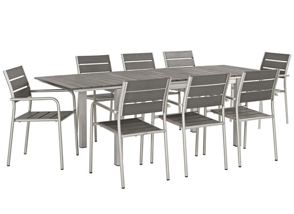 Modway Furniture Shore Silver Gray 9pc Outdoor Patio Dining Set EEI-3201-SLV-GRY-SET