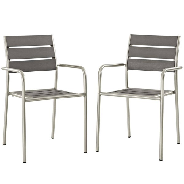 2 Modway Furniture Shore Silver Gray Outdoor Patio Dining Chairs EEI-3203-SLV-GRY-SET