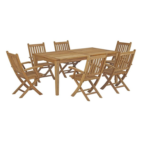 Modway Furniture Marina Natural 7pc Outdoor Patio Teak Dining Set with Arms EEI-3206-NAT-SET