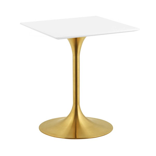 Modway Furniture Lippa Gold White 24 Inch Square Dining Table EEI-3210-GLD-WHI