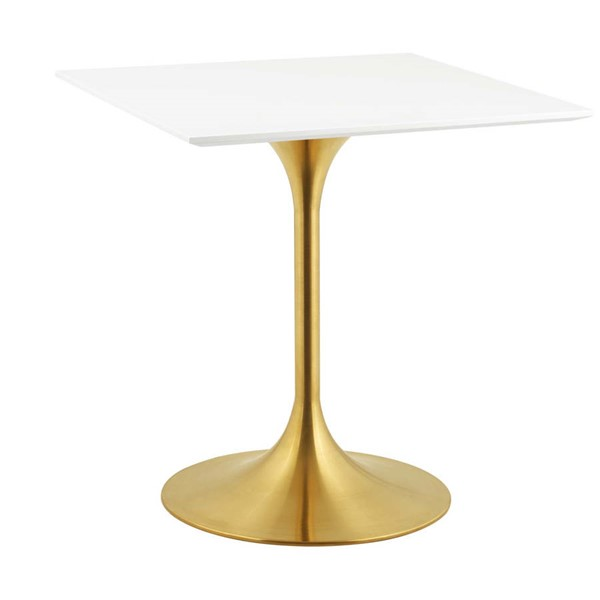 Modway Furniture Lippa Gold White 28 Inch Square Dining Table EEI-3211-GLD-WHI