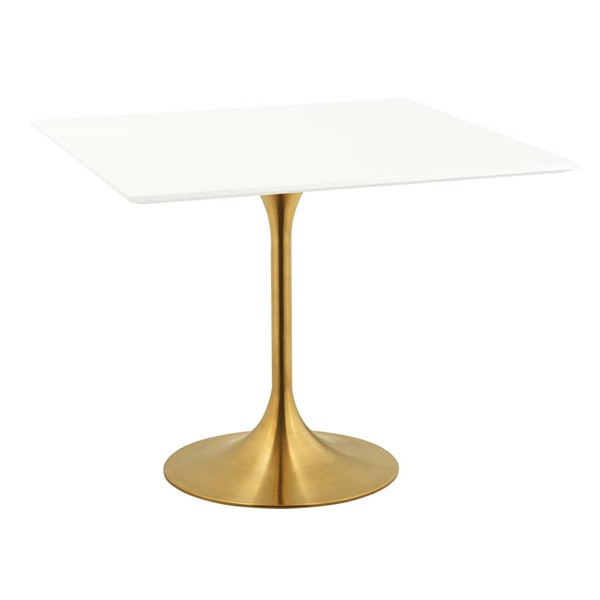 Modway Furniture Lippa Gold White 36 Inch Square Dining Table EEI-3212-GLD-WHI