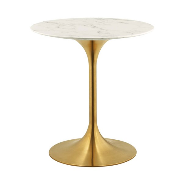 Modway Furniture Lippa Gold White Marble 28 Inch Round Dining Table EEI-3213-GLD-WHI