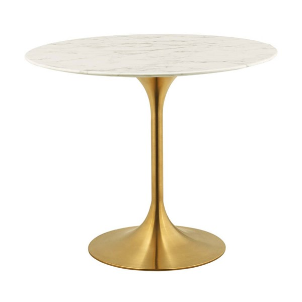 Modway Furniture Lippa Gold White 36 Inch Round Dining Table EEI-3214-GLD-WHI