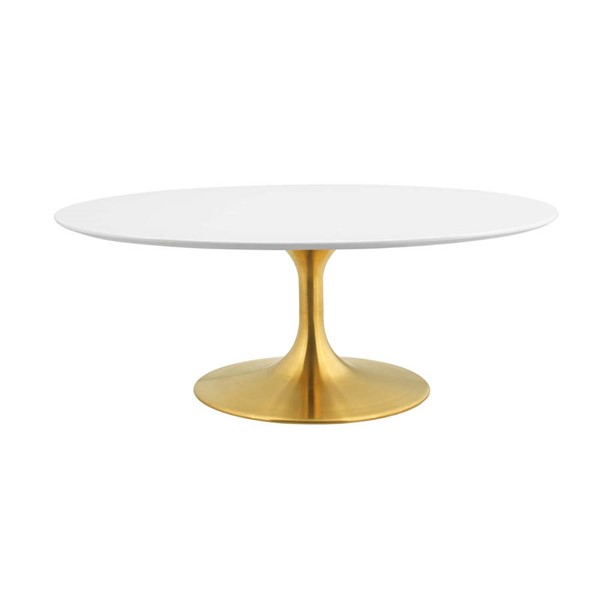 Modway Furniture Lippa Gold White 42 Inch Oval Coffee Table EEI-3248-GLD-WHI