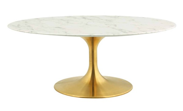 Modway Furniture Lippa Gold White Marble 42 Inch Oval Coffee Table EEI-3249-GLD-WHI
