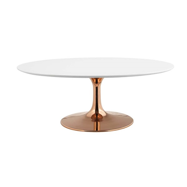 Modway Furniture Lippa Rose White 42 Inch Oval Coffee Table EEI-3251-ROS-WHI