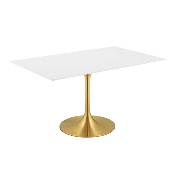 Modway Furniture Lippa Gold White 60 Inch Rectangle Dining Table EEI-3256-GLD-WHI