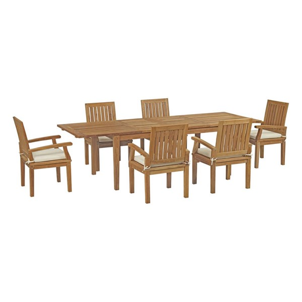 Modway Furniture Marina White Fabric 7pc Outdoor Patio Teak Dining Set EEI-3279-NAT-WHI-SET