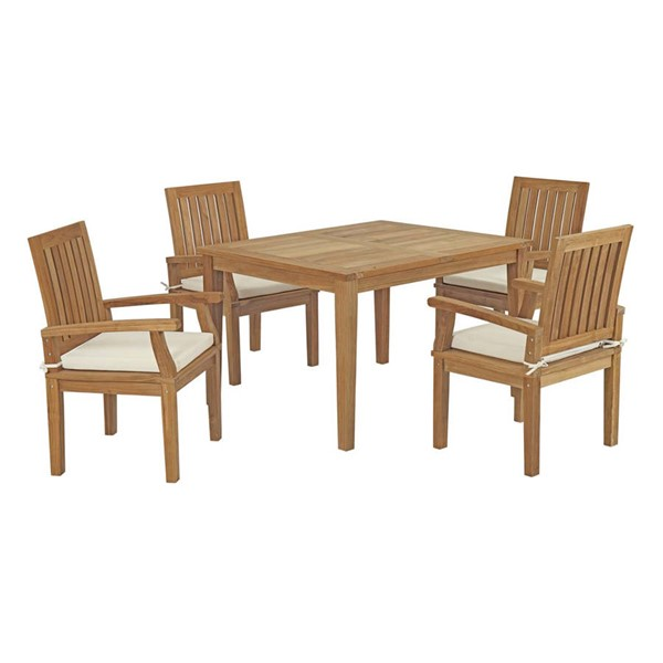 Modway Furniture Marina White 5pc Outdoor Patio Teak Dining Set EEI-3286-NAT-WHI-SET