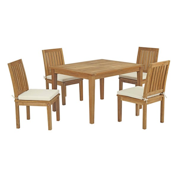 Modway Furniture Marina White Fabric 5pc Outdoor Patio Teak Dining Set EEI-3287-NAT-WHI-SET
