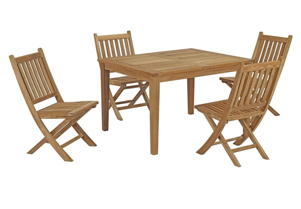 Modway Furniture Marina Natural 5pc Outdoor Patio Teak Dining Set EEI-3288-NAT-SET