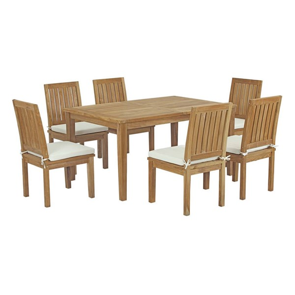 Modway Furniture Marina Natural White Fabric 7pc Outdoor Patio Teak Dining Set EEI-3293-NAT-WHI-SET