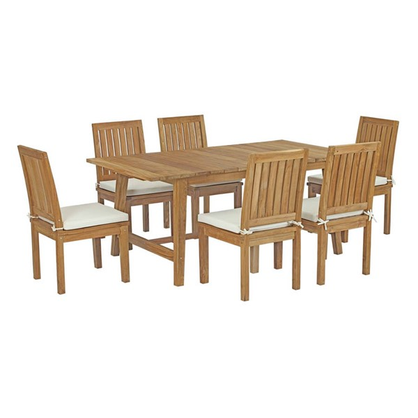 Modway Furniture Marina White Armless 7pc Outdoor Patio Teak Dining Set EEI-3296-NAT-WHI-SET