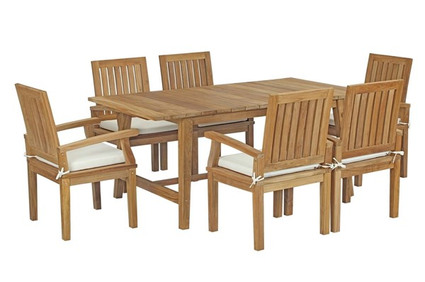 Modway Furniture Marina White Fabric 7pc Outdoor Patio Teak Dining Set with Arms EEI-3297-NAT-WHI-SET