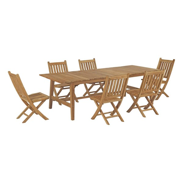 Modway Furniture Marina Natural 7pc Patio Teak Dining Set EEI-3309-NAT-SET