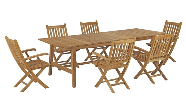 Modway Furniture Marina Natural Solid Wood 7pc Patio Teak Dining Set EEI-3310-NAT-SET