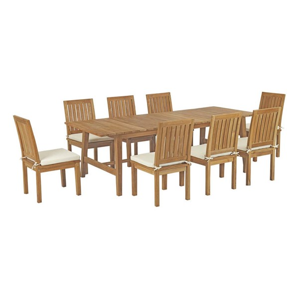 Modway Furniture Marina Natural White 9pc Outdoor Patio Dining Set EEI-3311-NAT-WHI-SET