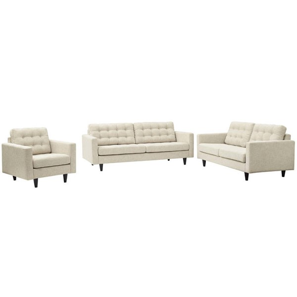 Modway Furniture Empress Beige 3pc Living Room Set EEI-3316-BEI