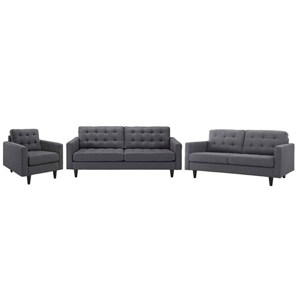 Modway Furniture Empress Gray 3pc Living Room Set EEI-3316-DOR