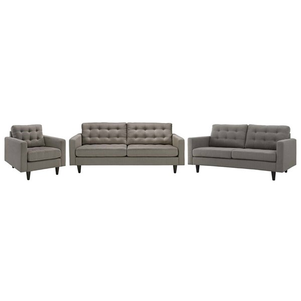 Modway Furniture Empress Granite 3pc Living Room Set EEI-3316-GRA