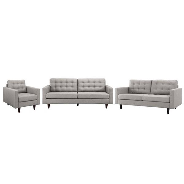 Modway Furniture Empress Light Gray 3pc Living Room Set EEI-3316-LGR