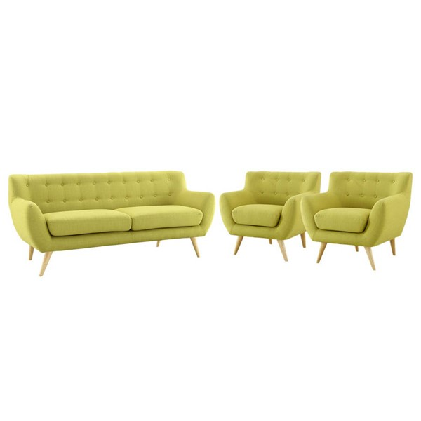 Modway Furniture Remark Wheatgrass 3pc Living Room Set EEI-3322-WHE-SET
