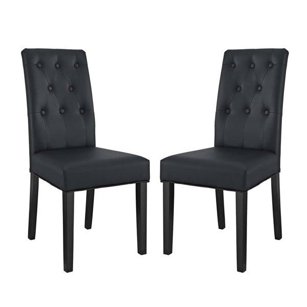 2 Modway Furniture Confer Black Vinyl Dining Side Chairs EEI-3323-BLK