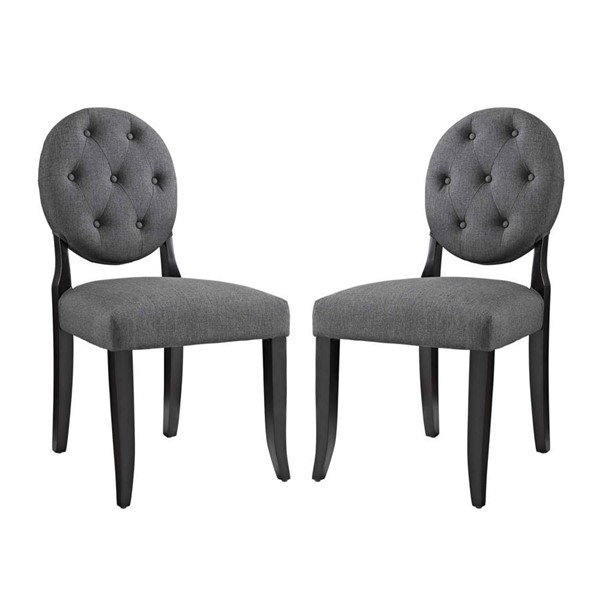 2 Modway Furniture Button Gray Dining Side Chairs EEI-3329-GRY