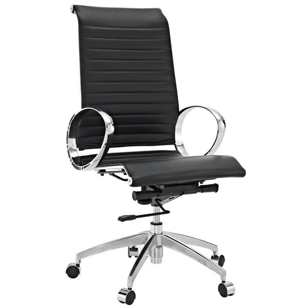 Black Leather With Iron & Aluminum Body Ribbed High Back Office Chair EEI-504-BLK