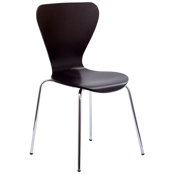 Ernie Wenge Plywood Aluminum Chrome Legs Dining Side Chair EEI-537-WEN