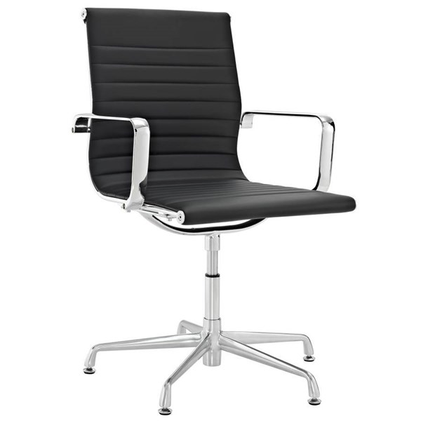 Black Polished Vinyl With Chrome Base & Plated Steel Conference Chair EEI-539-BLK