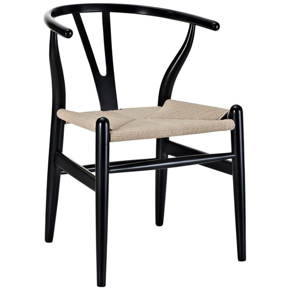 Amish Transitional Black Solid Wood Woven Dining Armchair EEI-552-BLK
