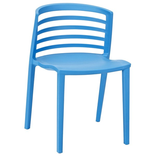 Curvy Contemporary Blue PP Plastic Dining Side Chair EEI-557-BLU