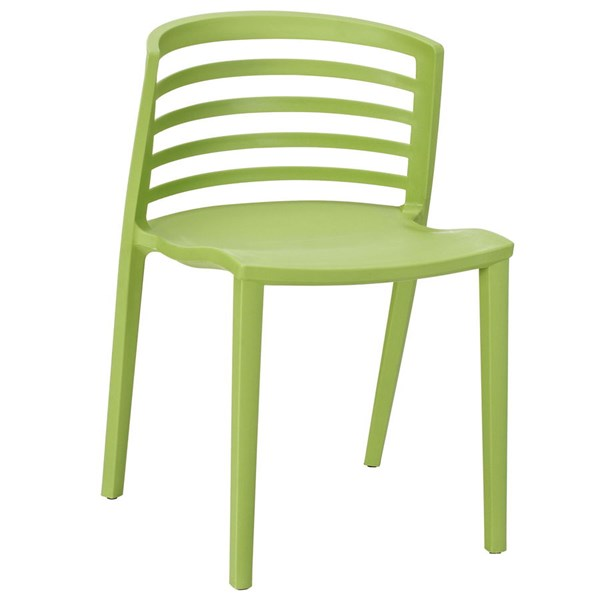 Curvy Contemporary Green PP Plastic Dining Side Chair EEI-557-GRN