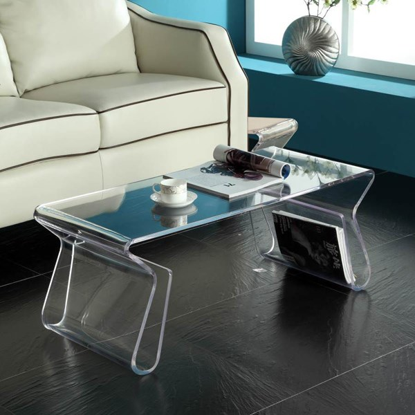 Clear Acrylic With Magazine Stand 3pc Coffee Table Set EEI-561-562-CLR