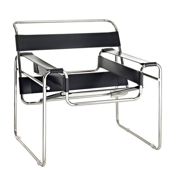 Slingy Modern Black Brown White Steel Genuine Leather Lounge Chairs EEI-563
