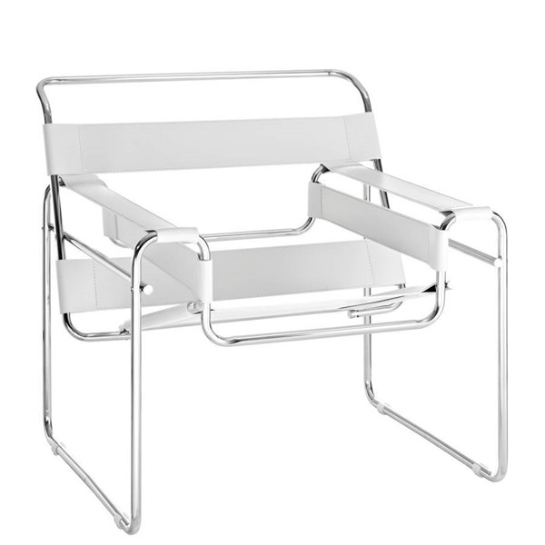 Slingy Modern White Stainless Steel Leather Lounge Chair EEI-563-WHI