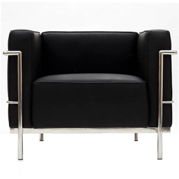 Black Leather With Stainless Steel Frame LC3 Armchair EEI-565-BLK