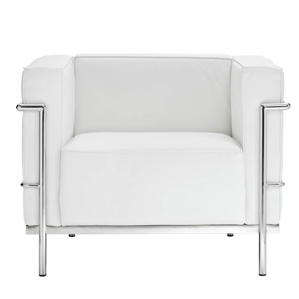 White Leather With Stainless Steel Frame LC3 Armchair EEI-565-WHI