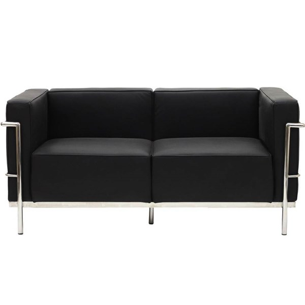 Black Leather With Stainless Steel Frame LC3 Loveseat EEI-566-BLK