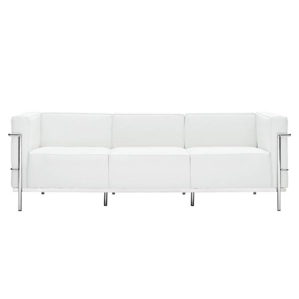 White Leather With Stainless Steel Frame LC3 Sofa EEI-567-WHI